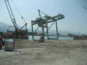 1. Destroyed gantry crane at Port International de Port-au-Prince, Haiti, January 2010. Photograph by John Spears, Maritime Administration.