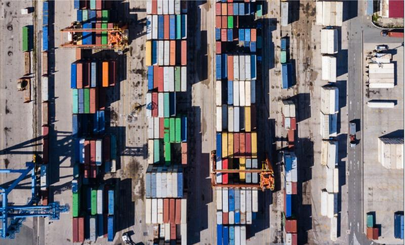 Overhead photo of Containers in shipyard