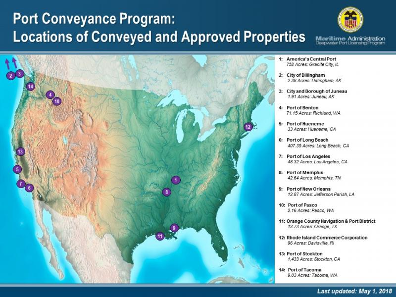 A map of conveyed and approved properties across the country.