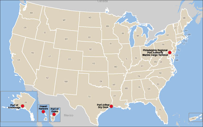 A map of the United States showing the locations of major ports.